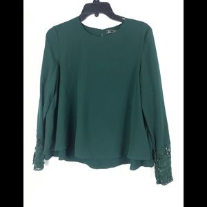 Zara green chiffon top long sleeve small